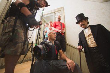 Fotografías durante la grabación de Sarasate, el rey del violín